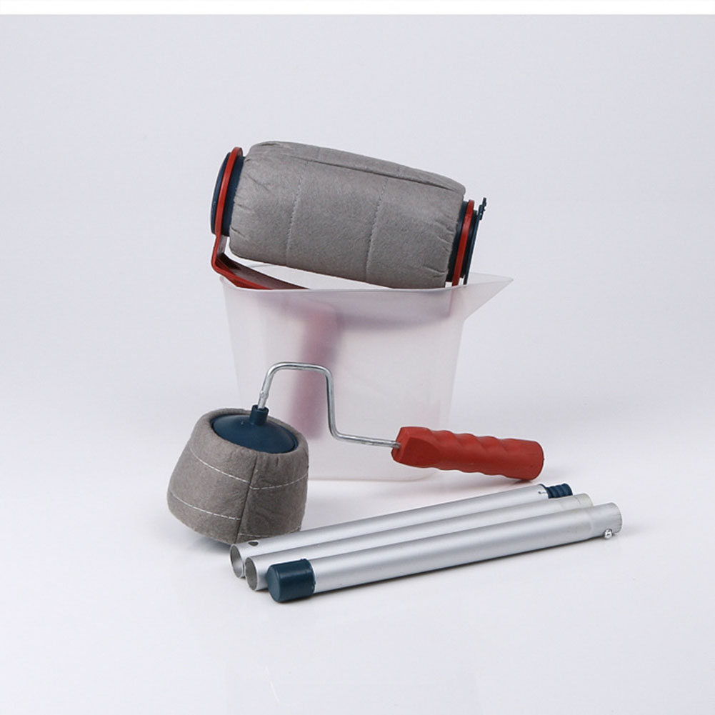[EU Direct] Multifunctional Paint Roller Brush Set Wall Handled Painting Tool  red