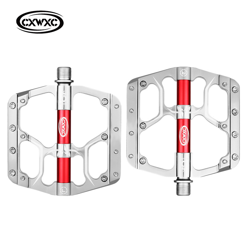 Bicycle Pedal Flat MTB Road 3 Bearings Bicycle Pedals Mountain Bike Pedals Wide Platform Pedal CX-V15 silver_Free size