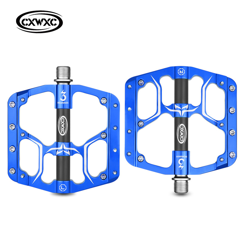 Bicycle Pedal Flat MTB Road 3 Bearings Bicycle Pedals Mountain Bike Pedals Wide Platform Pedal CX-V15 blue_Free size