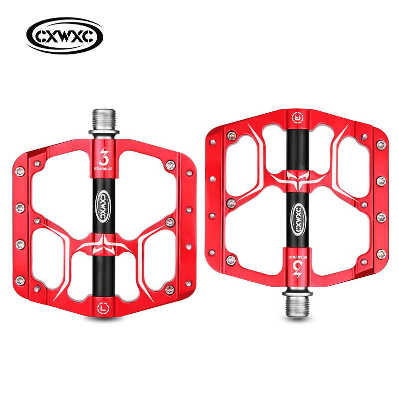 Bicycle Pedal Flat MTB Road 3 Bearings Bicycle Pedals Mountain Bike Pedals Wide Platform Pedal CX-V15 red_Free size