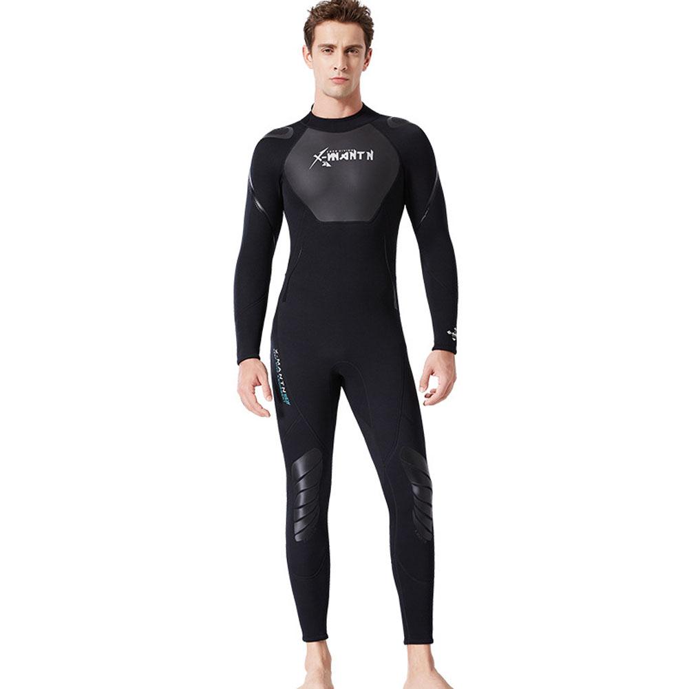 3MM Diving Suit Men Siamese Warm Women Long Sleeve Cold-proof Winter Swimwear Male black_XXL