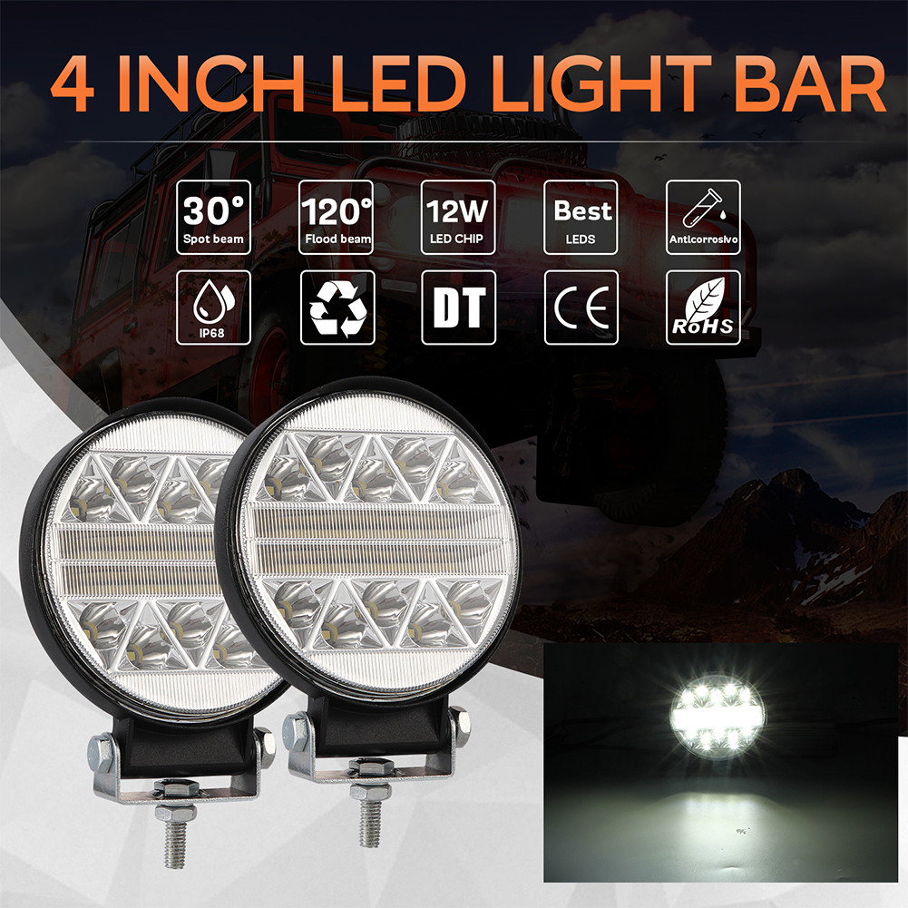 102W 4inch Round Shape Car LED Working Light Modified Truck Off-road Roof Lights White light
