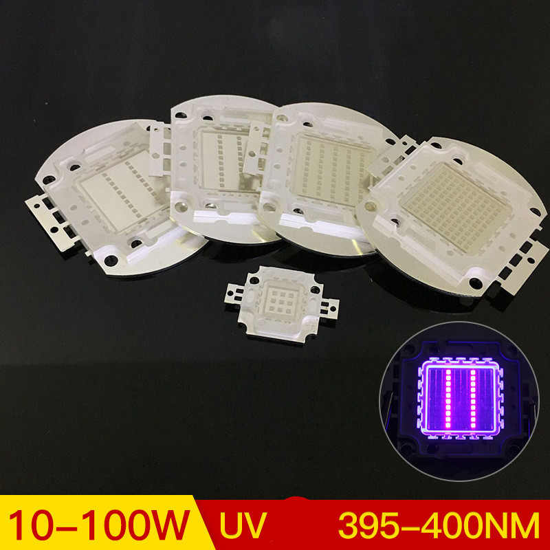 10-100W UV Purple LED Chip High Power Lighting Beads with Copper Bracket for Manicure UV purple light 395-400NM