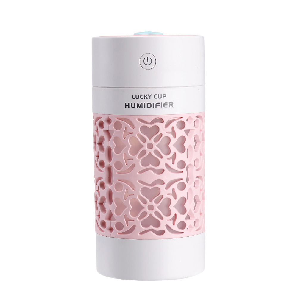 3 in 1 Mini Cup Humidifier USB Ultrasonic Aroma Diffuser with LED Light USB Fan Pink