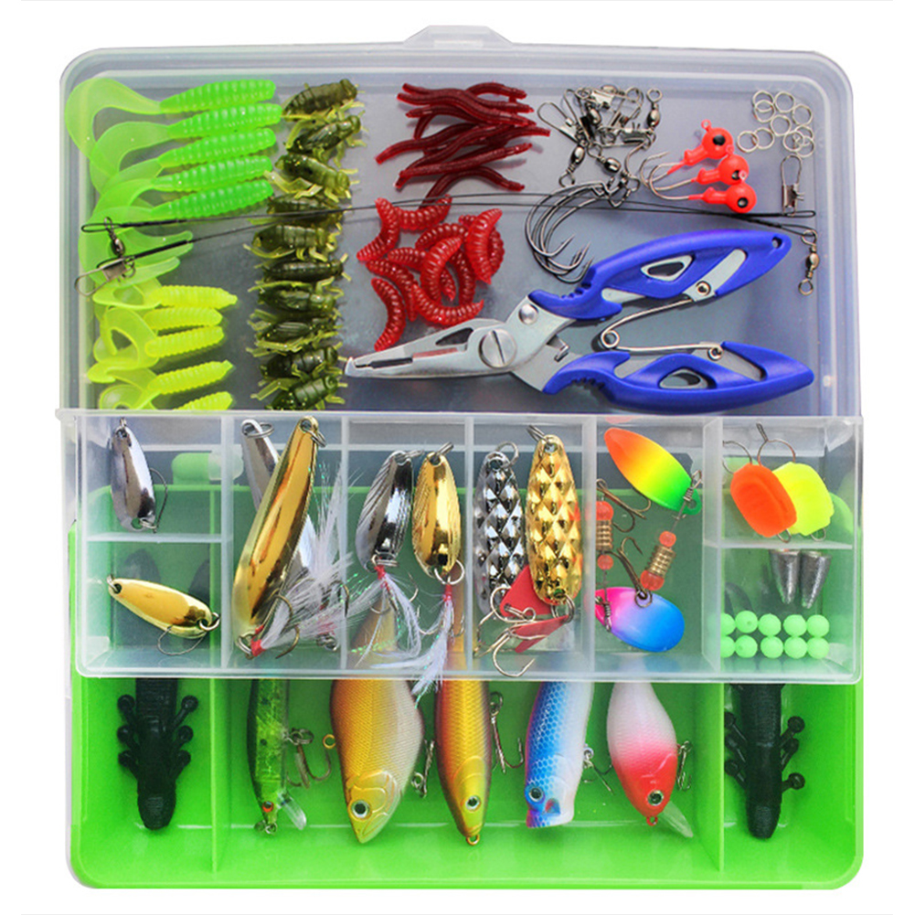 101 Pcs Fishing Lures Kit Full Fishing Tackle Box Including Spinners VIB Treble Hooks Single Hooks Swivels Pliers Green Box Second Generation 101 Set