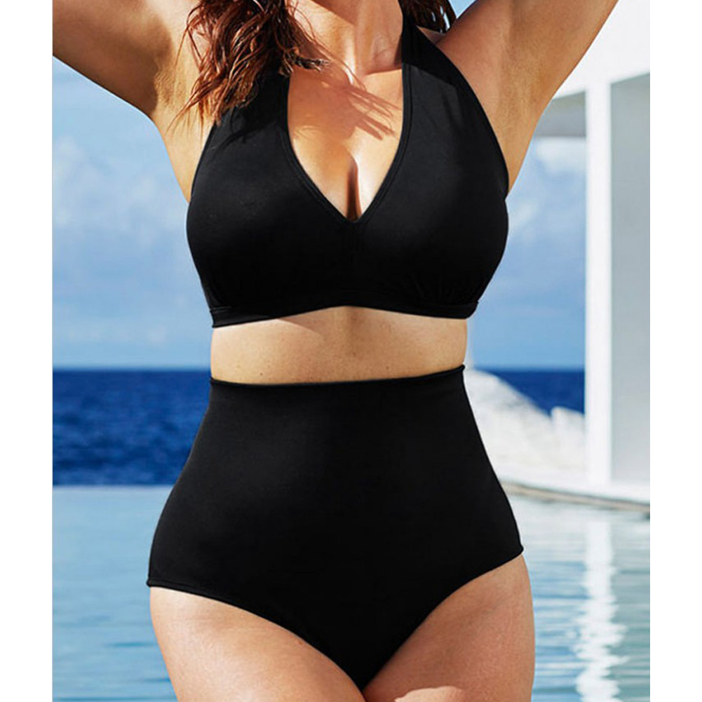 Women Sexy Halter Top Bikini Set Bandage Big Size High Waisted Swimsuit Plus Bathing Suit Girl Swimwear black_XXL