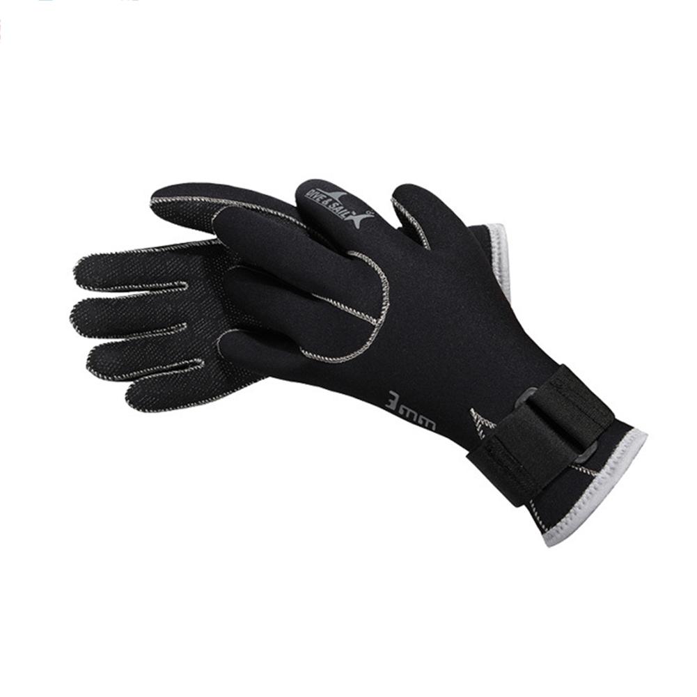 3mm Neoprene Diving Gloves for Swimming Keep Warm Swimming Anti-slip Warm Wear-resistant Scuba Diving Gloves Diving Equipment black_S