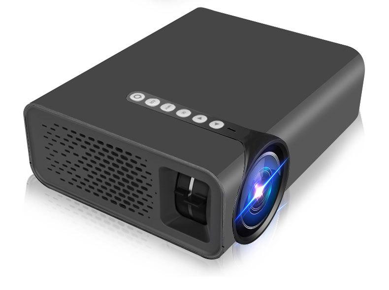 YG520 Snyc Display Smartphone Projector Mini LCD LED 1080P HDMI USB AV SD Home Theater  black_EU Plug