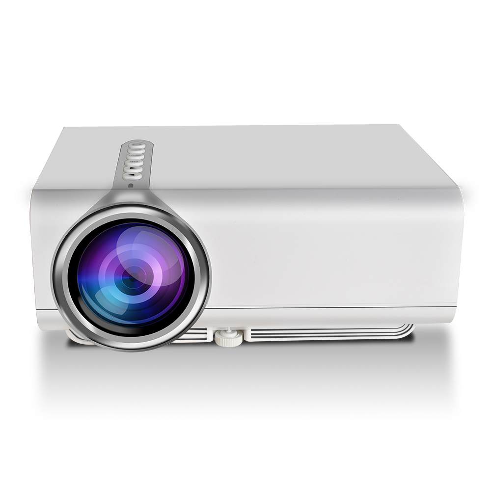 YG520 Snyc Display Smartphone Projector Mini LCD LED 1080P HDMI USB AV SD Home Theater  white_EU Plug
