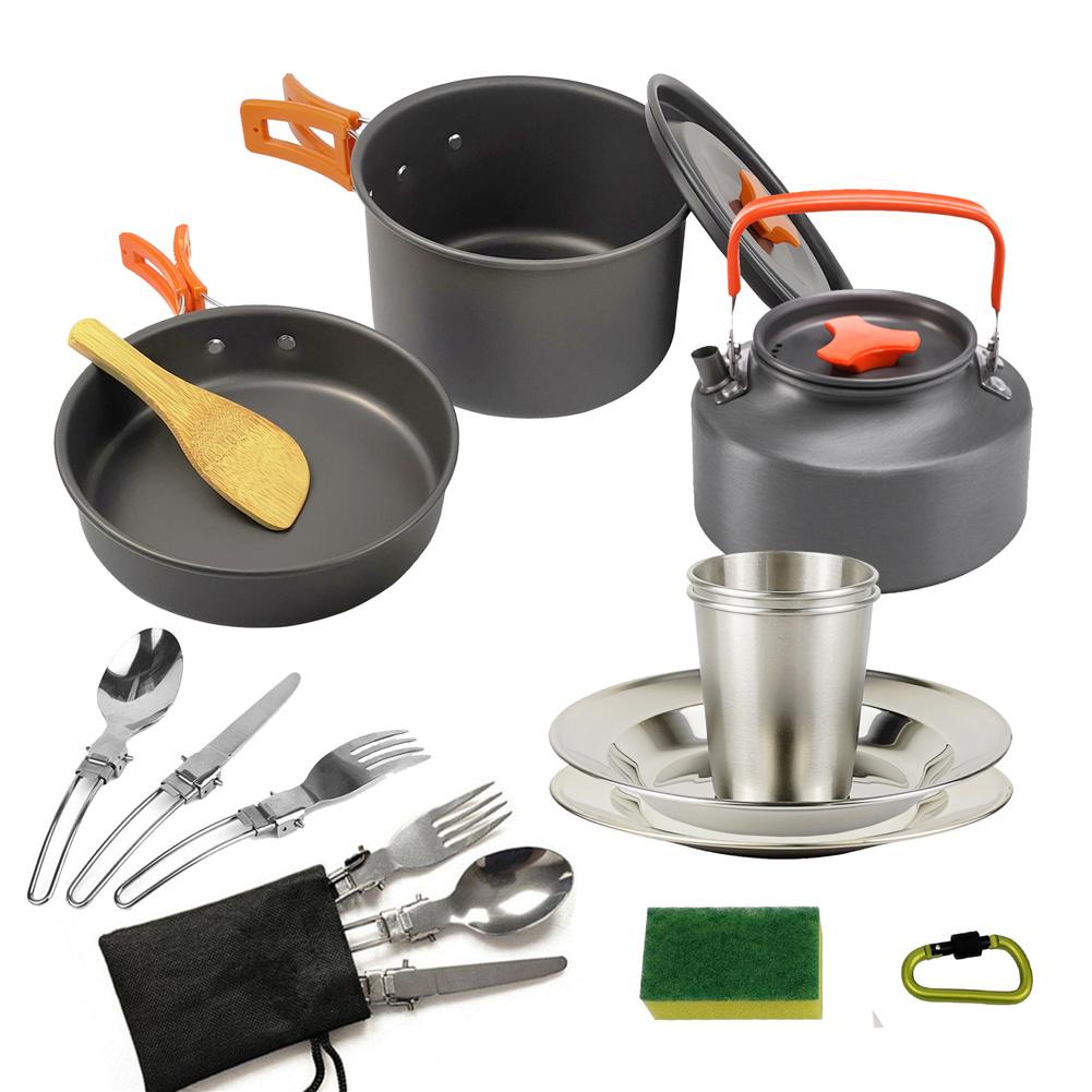 3pcs/set Camping   Cookware  Set For Outdoor Cooking Teapot Picnic Tableware Kettle Pot Frying Pan Orange