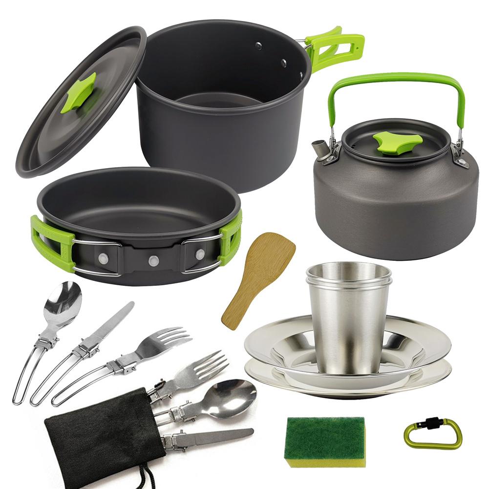3pcs/set Camping   Cookware  Set For Outdoor Cooking Teapot Picnic Tableware Kettle Pot Frying Pan green