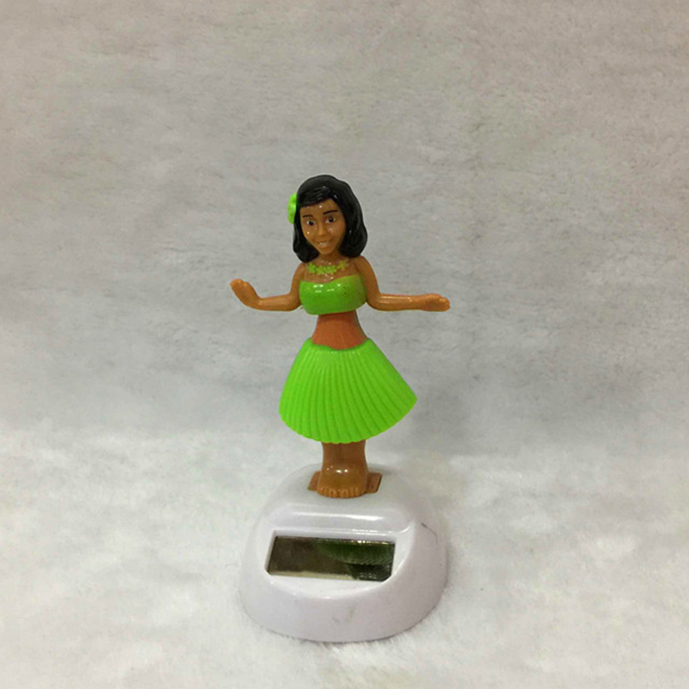 Car Ornament Beautiful Woman Solar Powered Solar Dancing Ornament Apple Flower Car Interior Decorations green_10cm high