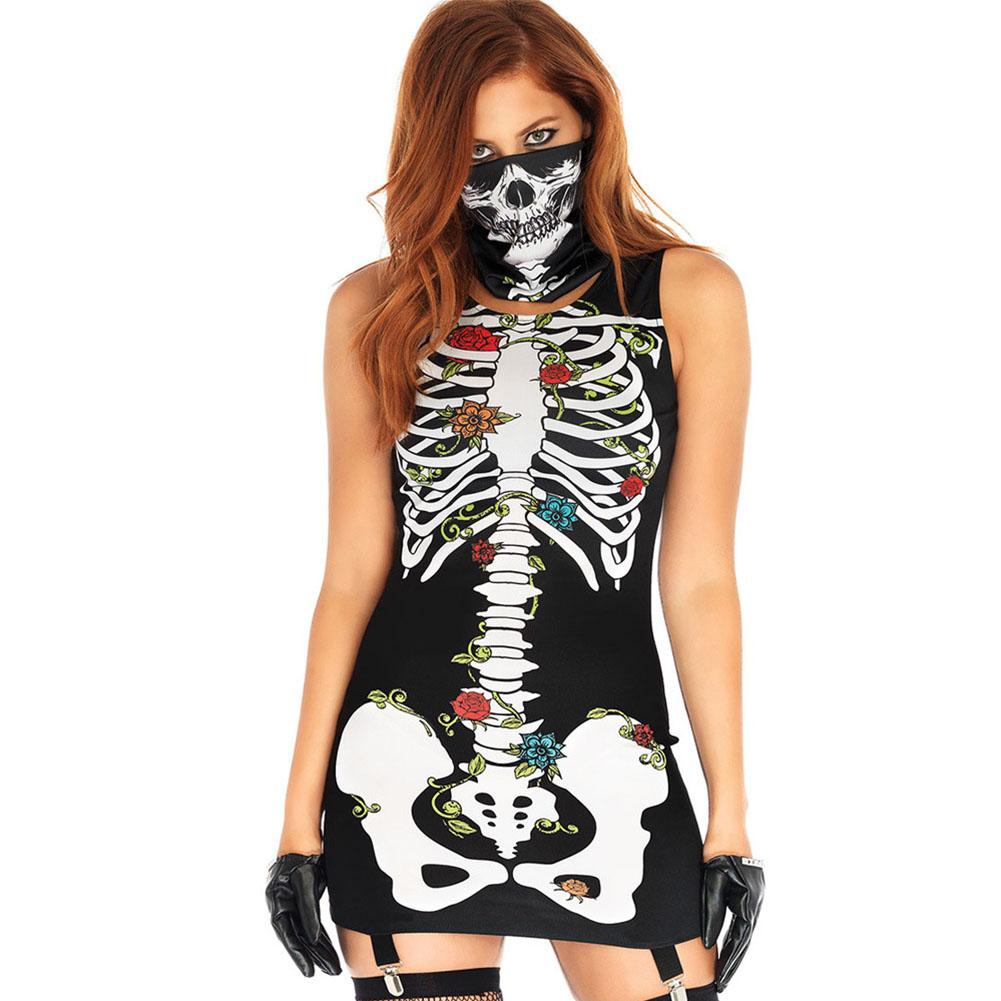 2Pcs/set Halloween Sexy Bodycon Dress + Mask Skeleton Sleeveless Cosplay Party Costume black_XL
