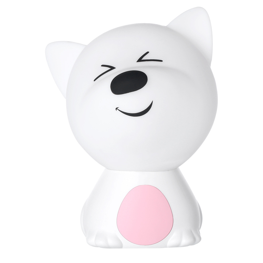 LED Colorful Night Light USB Charging Silicone Cartoon Dog Baby Nursery Pat Lamp for Children Pink