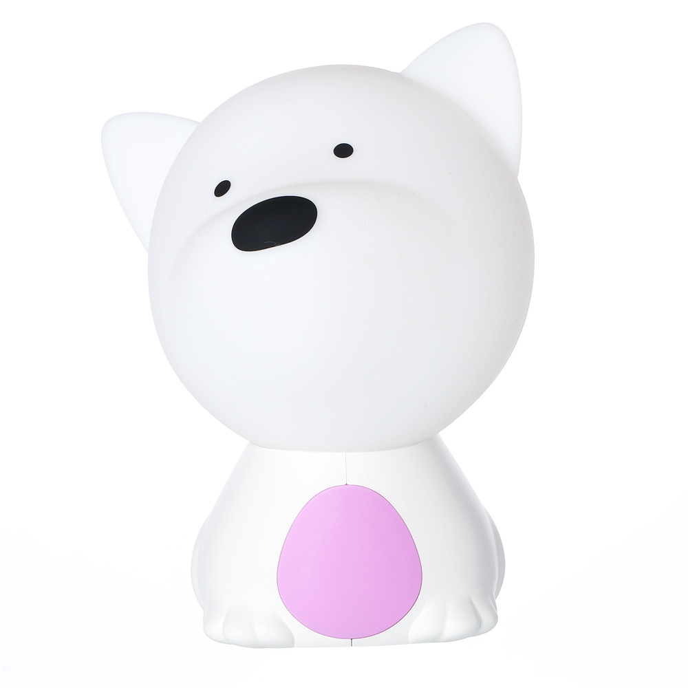 LED Colorful Night Light USB Charging Silicone Cartoon Dog Baby Nursery Pat Lamp for Children purple