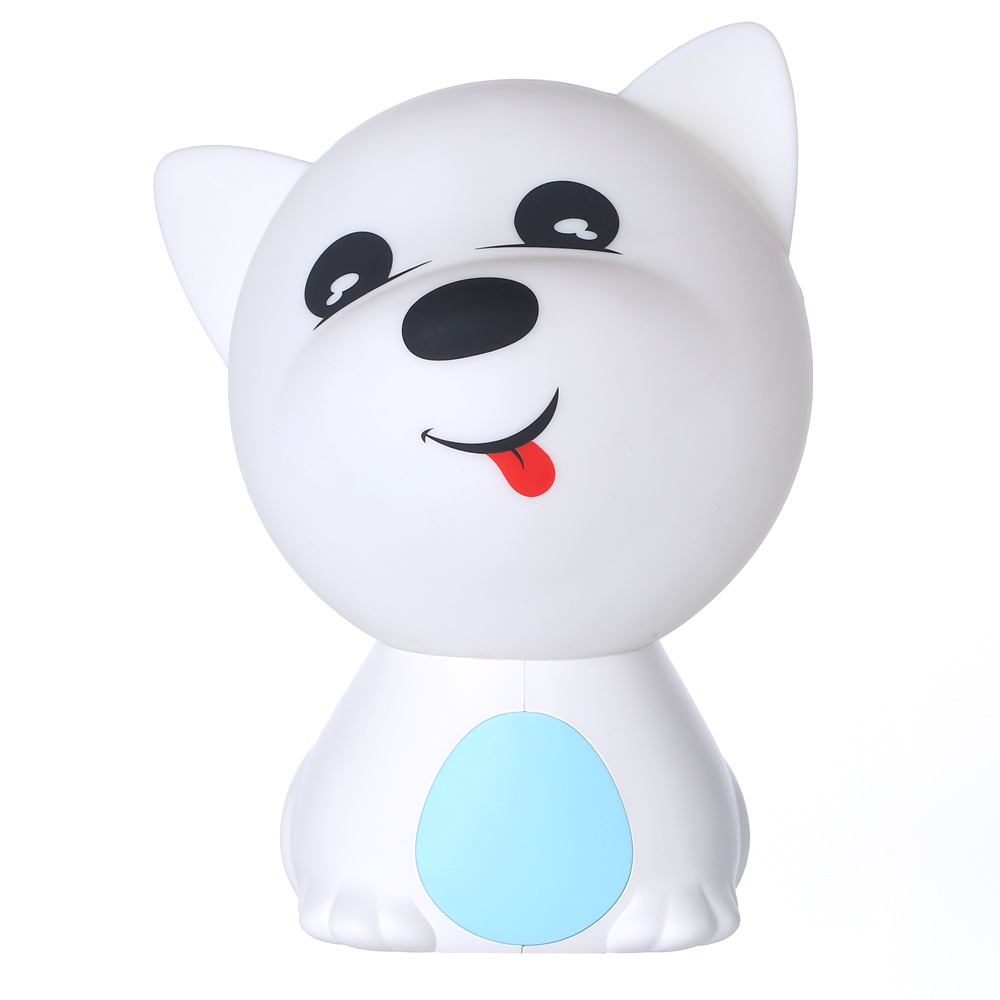 LED Colorful Night Light USB Charging Silicone Cartoon Dog Baby Nursery Pat Lamp for Children blue