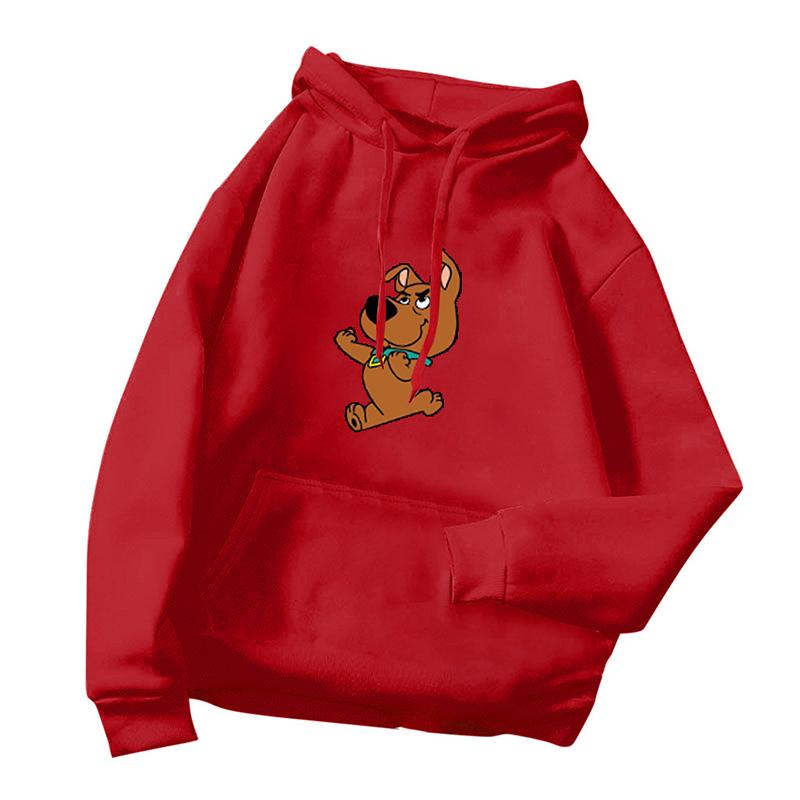 Women's Hoodie Winter Loose Long-sleeve Cartoon Printing Velvet Thicken Hooded Sweater red_2XL