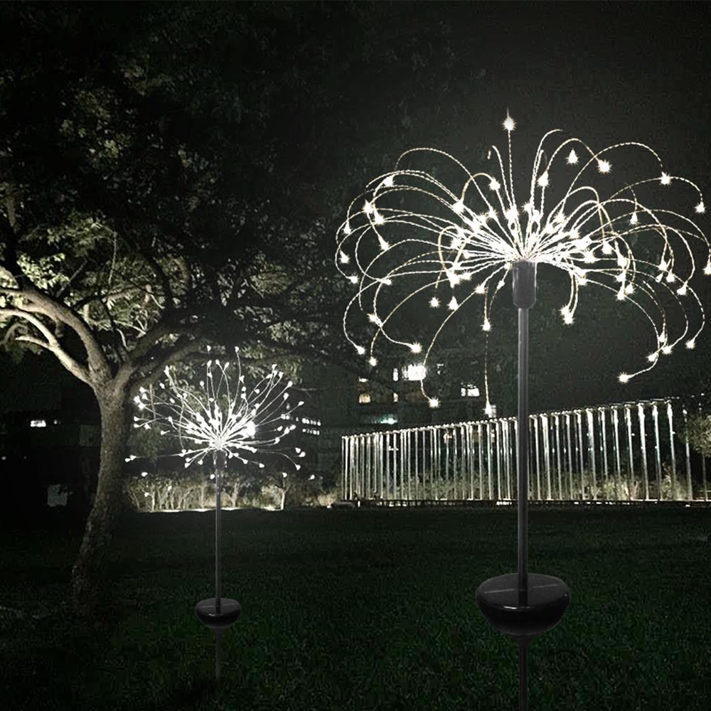 Solar Fireworks Lights with 8 Lighting Modes String Light for Outdoor Lighting White light_30 line 90 lights