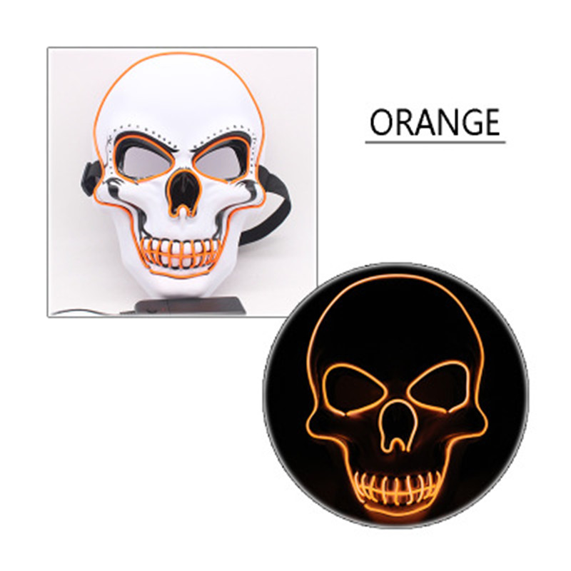 LED Halloween Scary Glow Skeleton Mask Cosplay Party Costume Supplies Orange