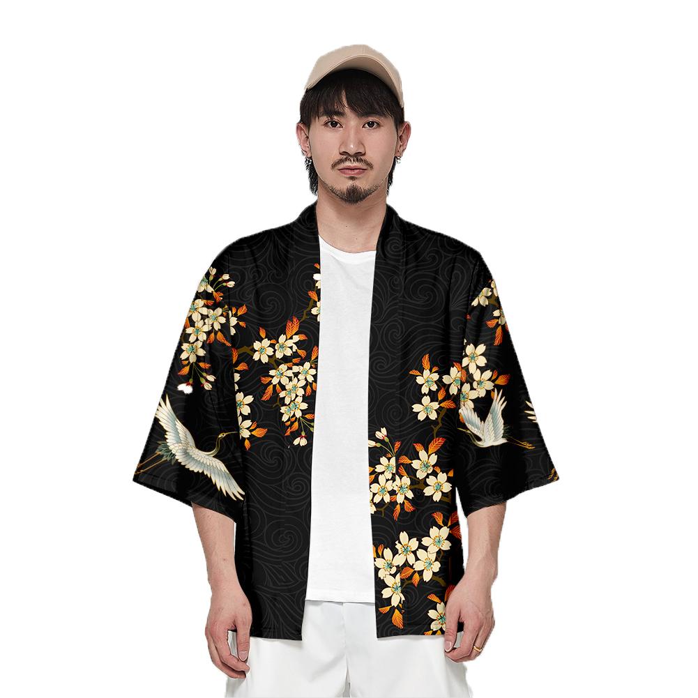 Unisex Fashion Thin Sunscreen Robe Summer Half Sleeve Loose Kimono Clothes V00020-3M25_XXL