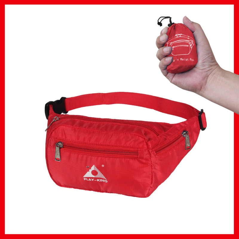 Sports Waist Bag Casual Outdoor Portable Lightweight Folding Multifunctional Running Mobile Phone Waist Bag red_7 inch