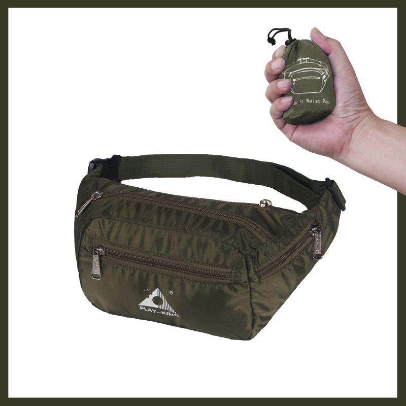 Sports Waist Bag Casual Outdoor Portable Lightweight Folding Multifunctional Running Mobile Phone Waist Bag olive Green_7 inch