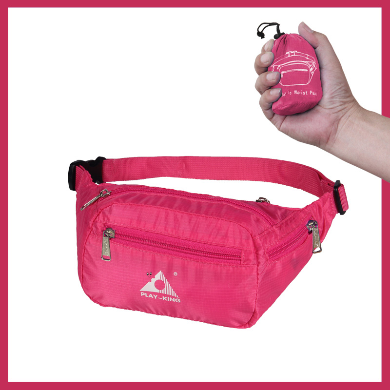 Sports Waist Bag Casual Outdoor Portable Lightweight Folding Multifunctional Running Mobile Phone Waist Bag rose Red_7 inch
