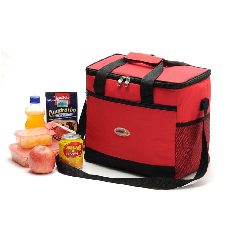 16L Large Capacity Thermal Lunch Bag Portable Food Picnic Handbag Travel Cooler Insulated Bags Red
