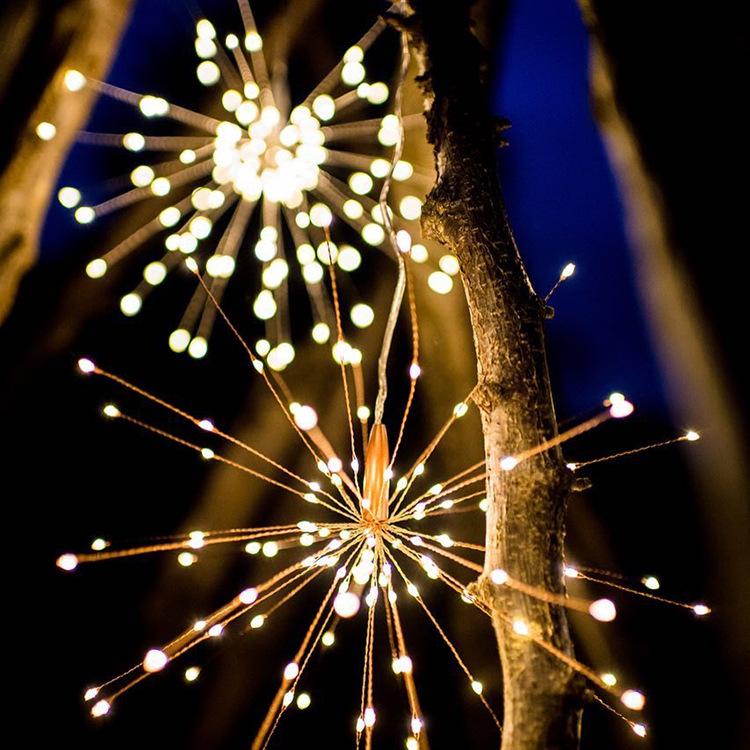 LED Fireworks Shape Solar String lights or Garden Decoration Copper Wire Warm White_40 200LEDs