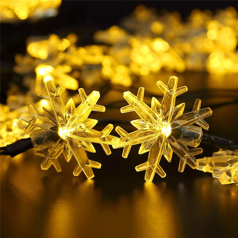 6M 30LEDs Snow Flower Shape Outdoor Waterproof Solar Light String warm light_(ME0004302)
