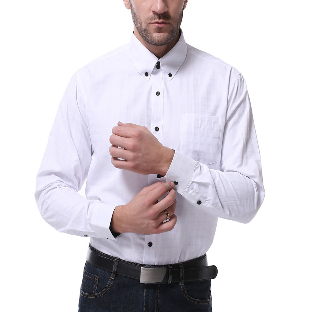 Men Long Sleeve Formal Shirt Casual Business Lapel Adults Tops with Pockets White_L