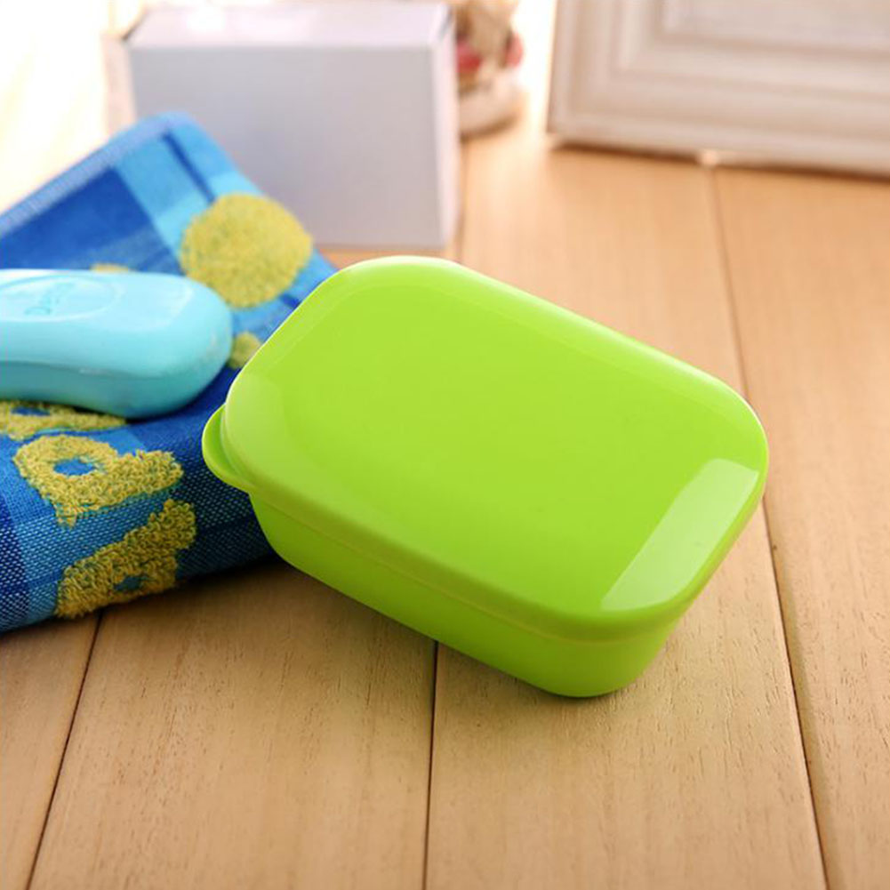 Portable Rectangle Soap Box with Drain Layer & Lid Stylish Soap Dish for Travel School green