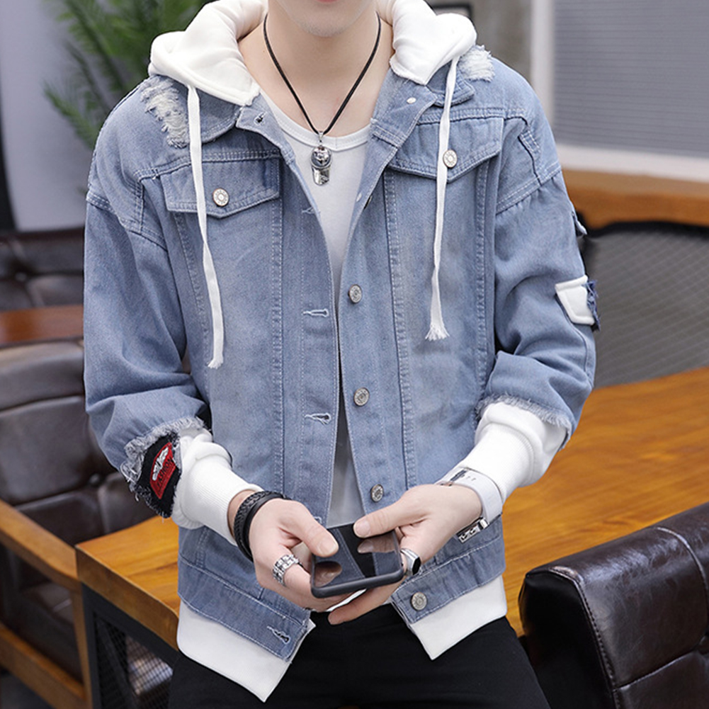 Fashion Denim Jacket with Hood Casual Style Handsome Coat  light blue_M