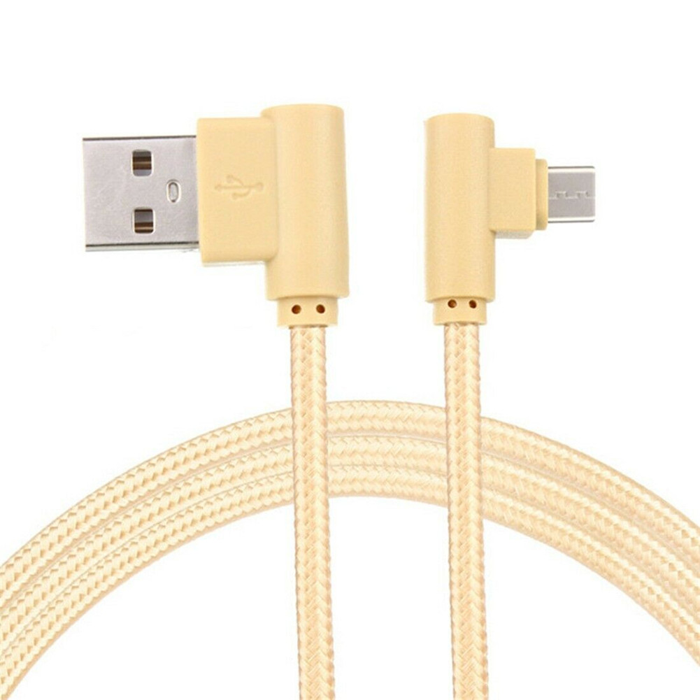 Braid USB Nylon Charging Cable L Shape Line for Type-c Android Xiaomi micro gold