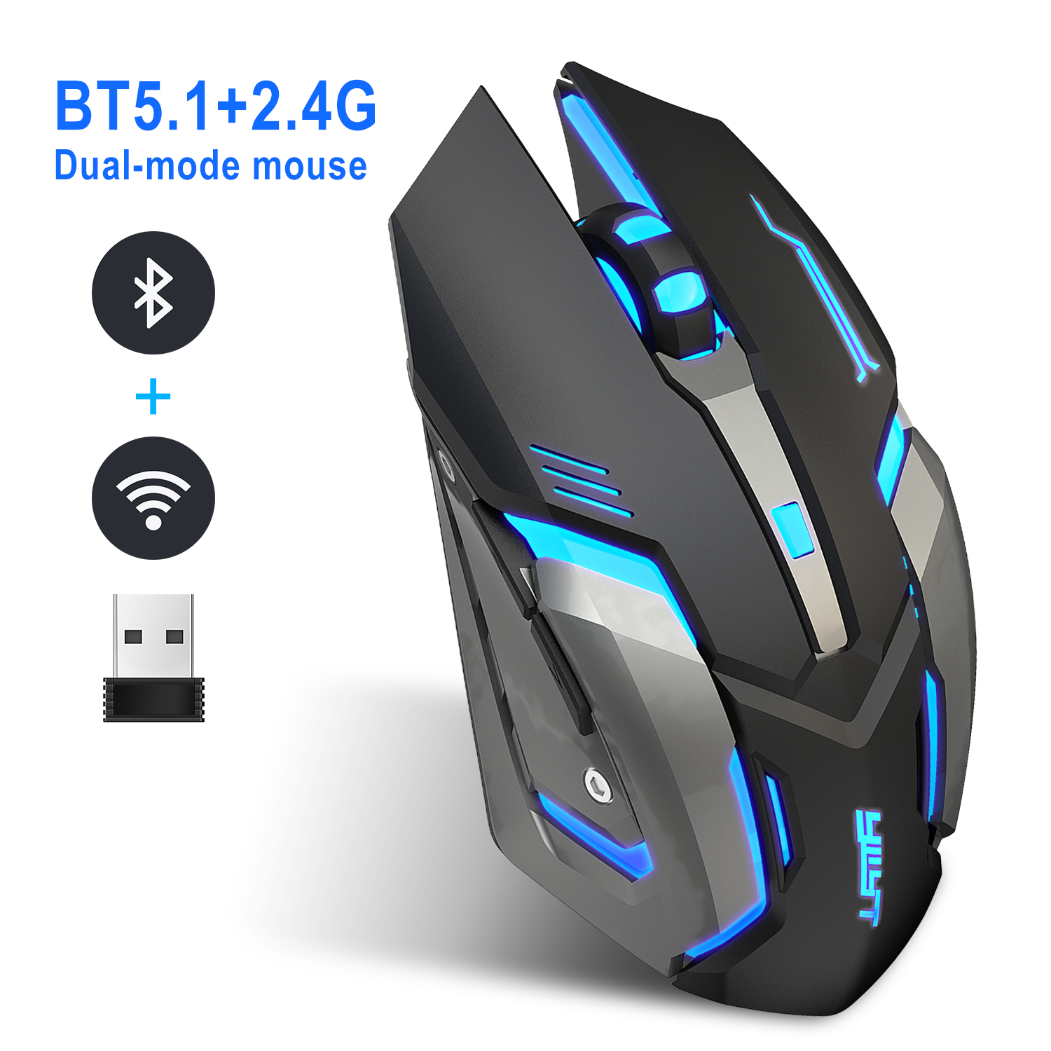 Wireless 2.4g+5.1 Ergonomic  Mice 2400dpi Usb Receiver Optical Bluetooth-compatible Computer Gaming Mute Mouse black