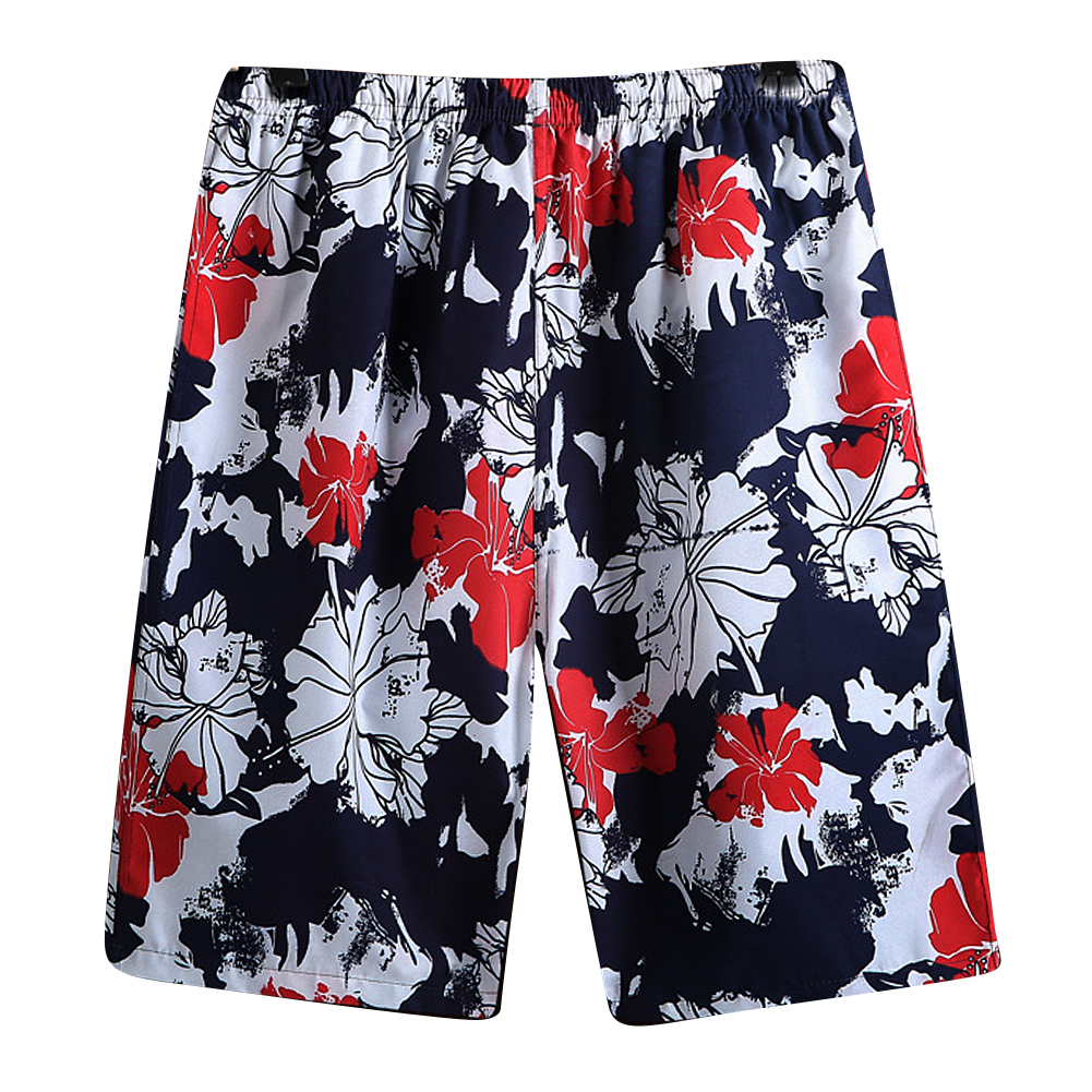 Men Casual Loose Colorful Printing Quick Dry Beach Shorts safflower_One size