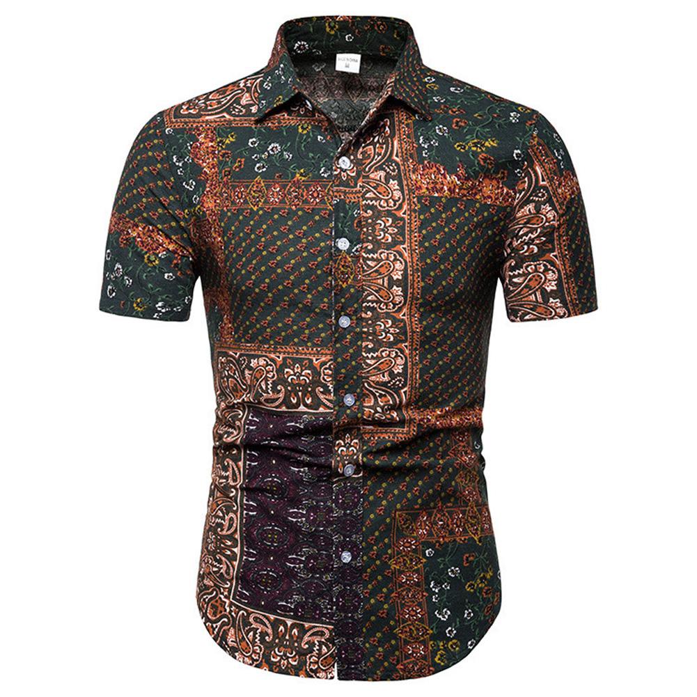 Men Beach Short Sleeve Shirt Fashion Hawaiian Casual Large Size Tops as shown_L