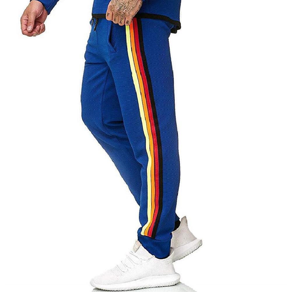 Men Casual Sports Pants Side Multi-color Ribbon Fashion Pants Trousers blue_XXL