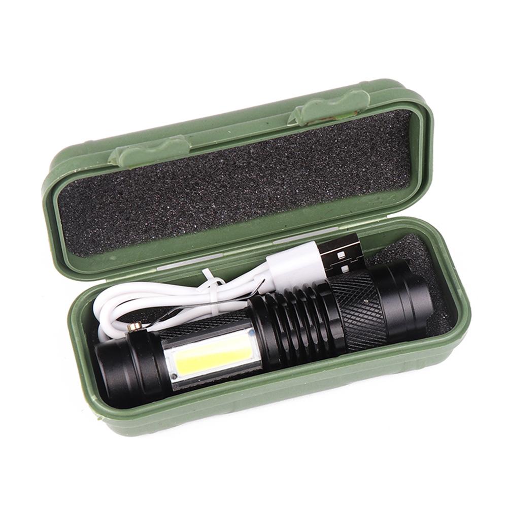 COB LED Flashlight Portable Mini ZOOM Torchflashlight Built-in 1200mah Battery white light