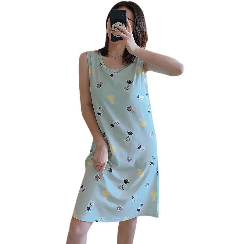 Girl Sleeveless Nightdress with Bra Pad Pineapple Crew Neck Pajama Summer Loose Sleepwear Sundress Green pineapple_XL