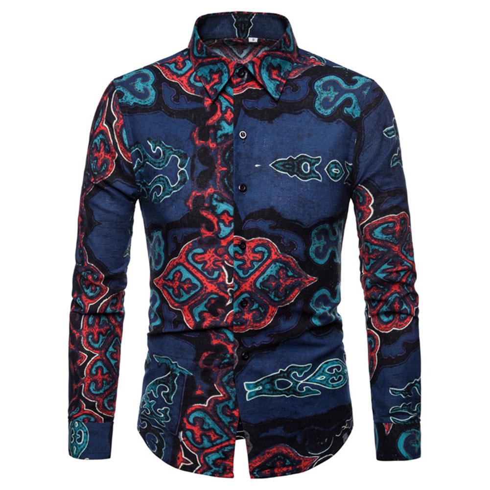 Men National Style Fashion Digital Printing Casual Long Sleeve T-shirt blue_XL