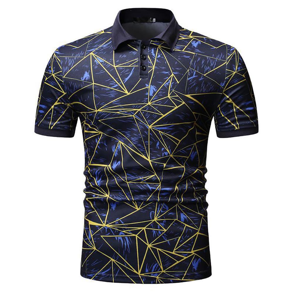 Men Fashion Casual Lapel Printing Short Sleeve Shirt blue_L