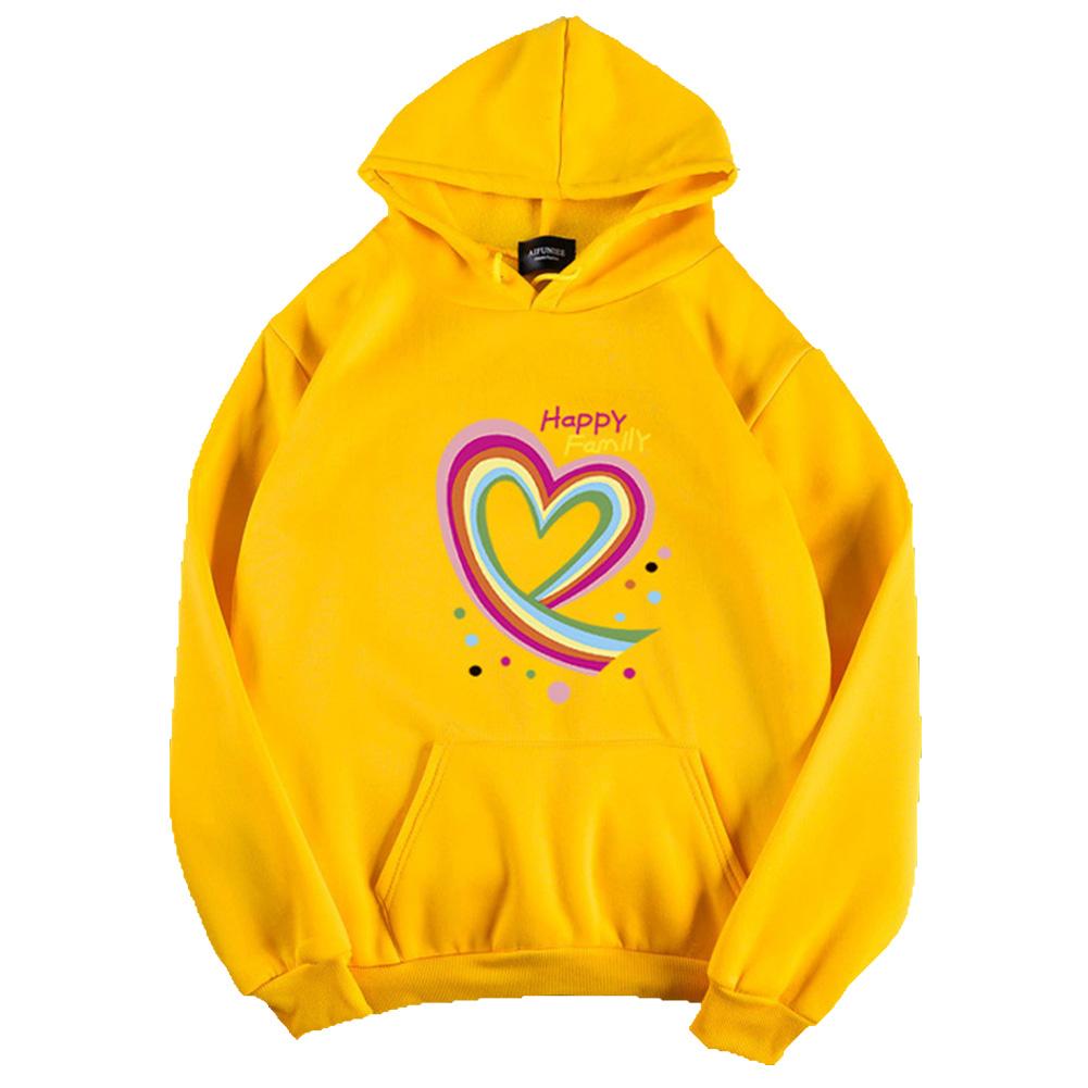 Men Women Hoodie Sweatshirt Happy Family Heart Thicken Autumn Winter Loose Pullover Tops Yellow_M