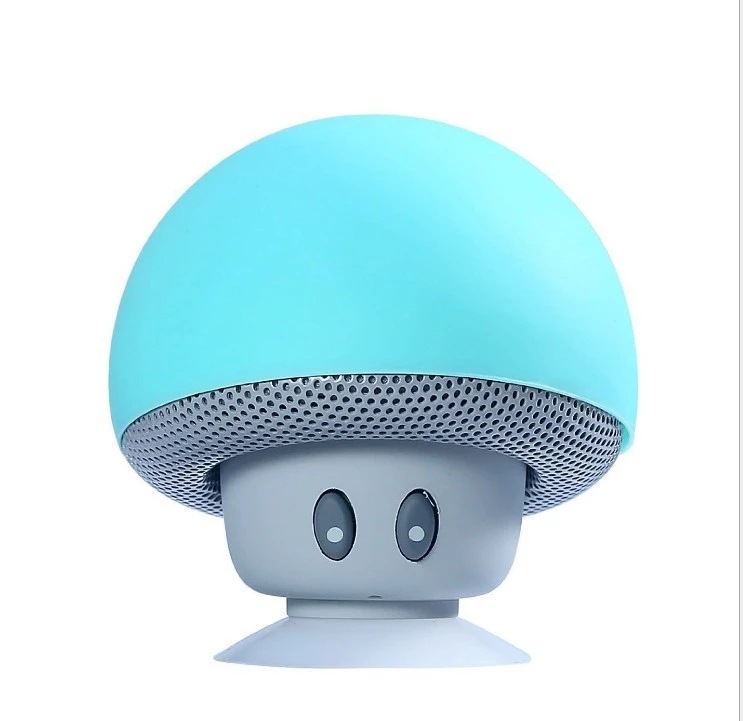 Mini Portable Cute Mushroom Head Bluetooth Speaker Wireless Stereo Speaker with Suction Cup Light blue