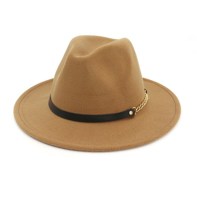 Fashion Wide Brim Women Autumn Female Top Hat Jazz Cap Winter Fedora Hats Solid Color Fedoras Cap For Ladies Dropshipping