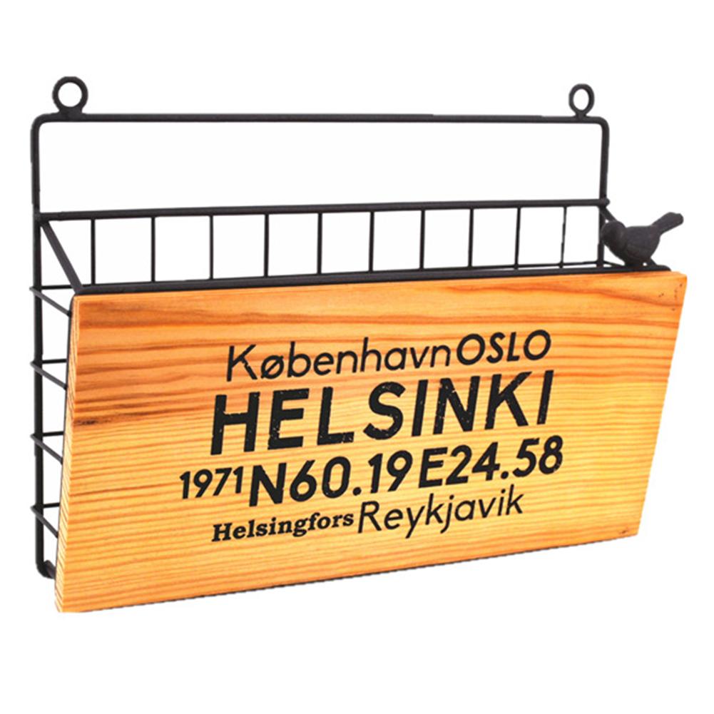 Iron Art Wall Hanging Letter Storage Basket for Gate Porch Garden Decoration 31*7.5*22.8cm_HELSINKI