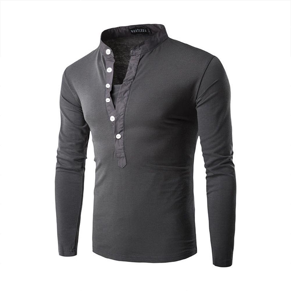 Men Fashion Shirt Slim Fit Casual Long Sleeve Pullover Tops Dark gray_XXL