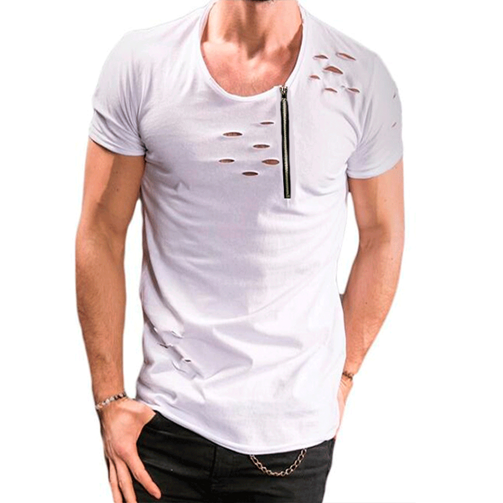 Men Slim Fit O-Neck Ripped Short Sleeve Muscle Tee T-shirt white_L