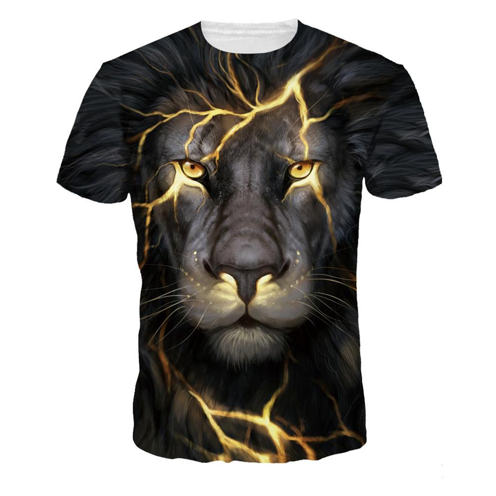 Men Women Fashion 3D Tiger Digital Printing T-shirt Round Neck Short Sleeve Tops NA319_XL