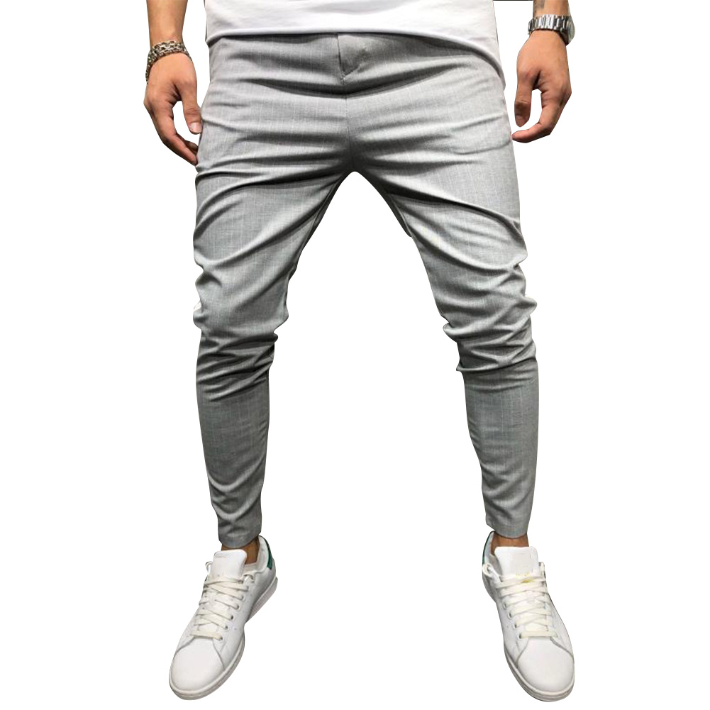 Men Casual All-match Stripe Twill Harem Pants light grey_XL
